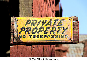 Weathered Private Property Sign - Unique, colorful,...