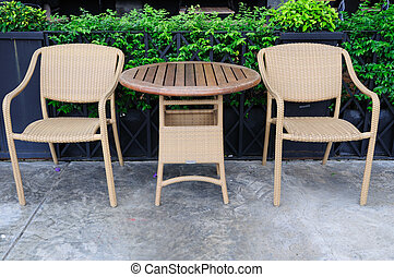 Out door rattans tables and chairs set.