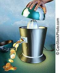 Earth abuse - Earth resources are squeezed out using a...