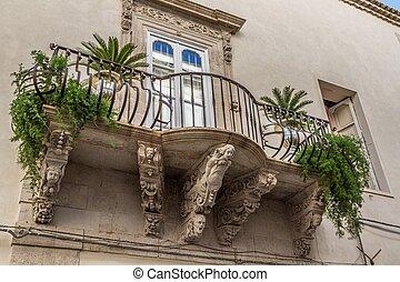 europe, italy, sicily, Ortigia, baroque balcony