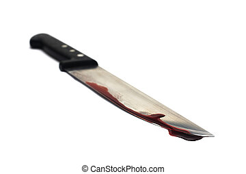 Bloody Knife - A bloody knife, isolated on white. This image...
