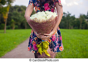 Incredibly beautiful large bouquet of white roses at the...