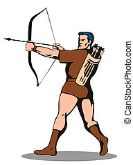 Archer Shooting Arrow - Illustration of archer shooting...
