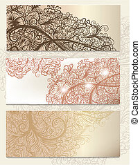 Brochure vector set with vintage sw - Vector set of floral...