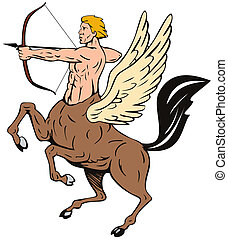 Centaur Bow Arrow Shooting - Illustration of centaur with...