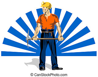 Coal Miner With Pick Axe - Illustration of a coal miner with...