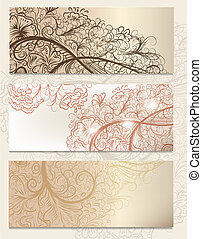 Brochure vector set with vintage swirl ornament for design -...