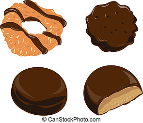 Girl Scout Cookies Chocolate - Illustration of girl scout...