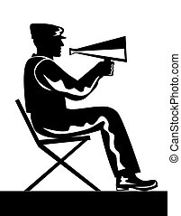 Director with Megaphone - Illustration of director sitting...