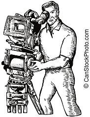 Cameraman Movie Director Filming Vintage Camera -...
