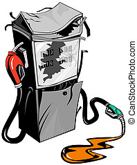 Broken Fuel Pump Station Retro - Illustration of a broken...