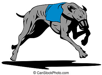 Greyhound Dog Racing Retro - Illustration of a greyhound dog...