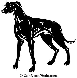 Greyhound Dog Retro - Illustration of a greyhound dog done...