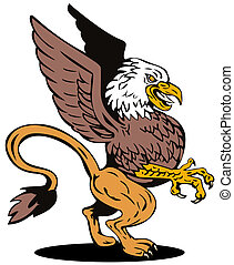 Griffin Lion Fighting - Illustration of griffin lion vulture...