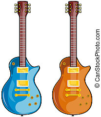 Blues Guitar - Illustration of blues guitars set in white...