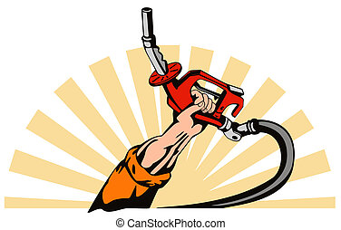 Hand Holding Gas Fuel Pump Nozzle - Illustration of hand...