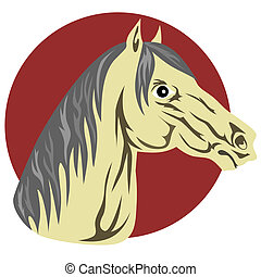 Horse Head - Illustration of horse head facing sideways done...