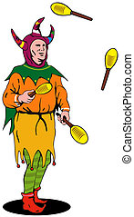Jester Juggling - Illustration of jester juggling set in...