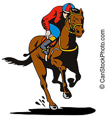 Horse and Jockey Racing Retro
