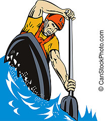 Kayak Paddler - Illustration of man on kayak paddling racing...