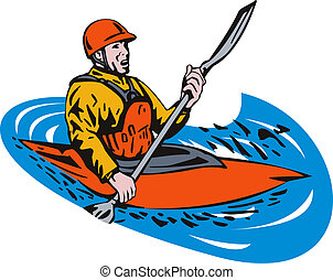 Kayak Paddler - Illustration of man on kayak paddling side...