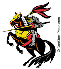 Knight on Horse with Sword - Illustration of knight in full...