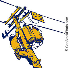Power Lineman Telephone Repairman Electrician - Illustration...