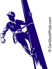Power Lineman Climbing - Illustration of a power lineman...