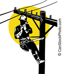 Power Lineman on Phone - Illustration of a power lineman...
