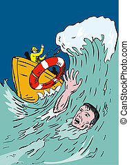 Man Drowning - Illustration of man drowning and man rescuing...