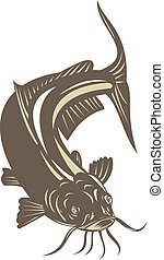 Catfish Jumping - Illustration of a catfish jumping done in...