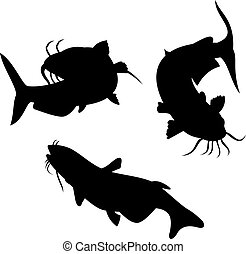Catfish Silhouette - Illustration of a catfish silhouette...