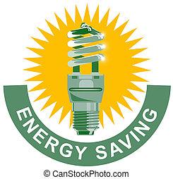 Energy Saving Label Lightbulb - Illustration of lightbulb...