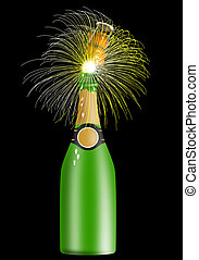 Champagne Bottle Open - Illustration of champagne bottle...