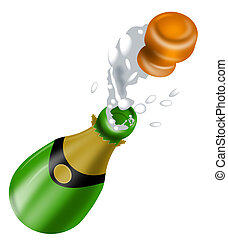 Champagne Bottle Open Lid - Illustration of champagne bottle...