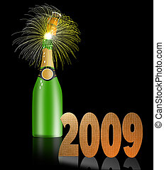 Champagne Bottle 2009 - Illustration of champagne bottle...