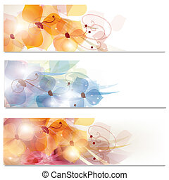 Brochure vector set in floral style - Abstract colorful...