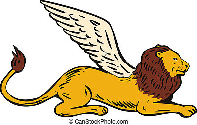 Griffin Lion Sitting Side View - Illustration of griffin...