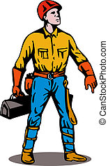 Lineman Standing with Toolbox - Illustration of a power...