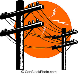 Powerline - Illustration of power line done in retro style