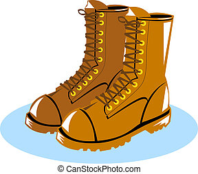 Lineman Boots - Illustration of lineman boots shoes done in...
