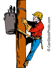 Power Lineman Electrician - Illustration of a power lineman...