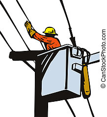 Power Lineman Cherry Picker - Illustration of a power...