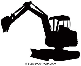 Mechanical Digger Excavator Retro - Illustration of a...