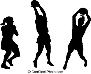 netball player catching ball - illustration of a netball...