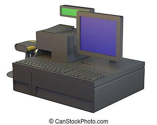 Computer Cash Register - Illustration of a black computer...