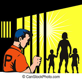 Prisoner and Family - Illustration of prisoner and family...
