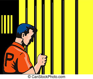 Prisoner Holding Jailbar - Illustration of prisoner holding...