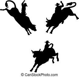 Rodeo Cowboy Bull Riding Retro - Illustration of three rodeo...