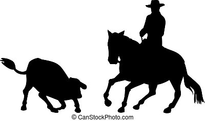 Rodeo Cowboy Horse Riding Silhouette - Illustration of rodeo...